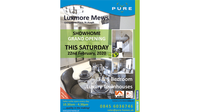 Luxmore Mews at Livingstone Place, St. Asaph OPENS THIS SATURDAY